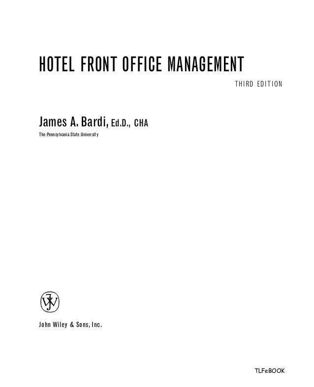Cover Letter Front Desk Hotel. Hotel Front Office Management 3rd Edition .