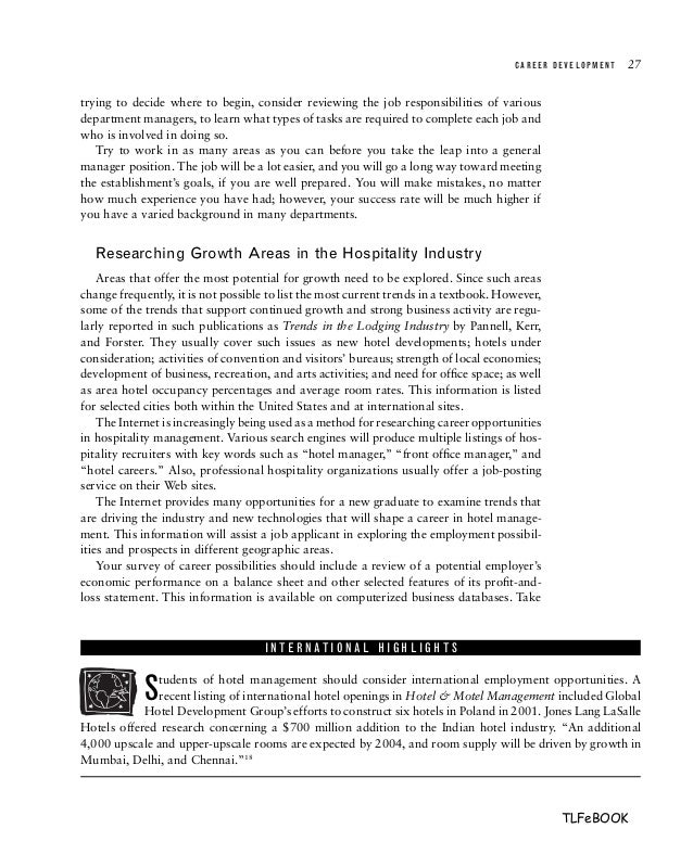 Hotel front office management 3rd edition – Hotel Front Desk Manager Job Description