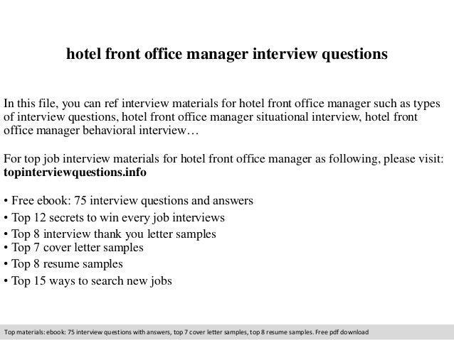 Hotel Front Office Manager Interview Questions