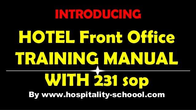 Front office Sop manual Pdf