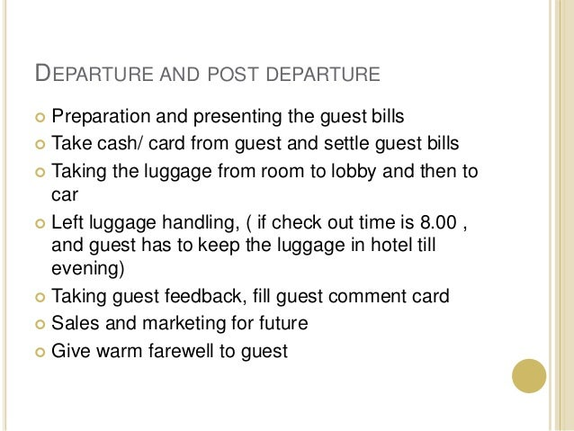 housekeeping and the guest cycle In this lesson, we'll discuss the four stages of the guest cycle in hotels, including  pre-arrival, arrival, occupancy, and departure after.