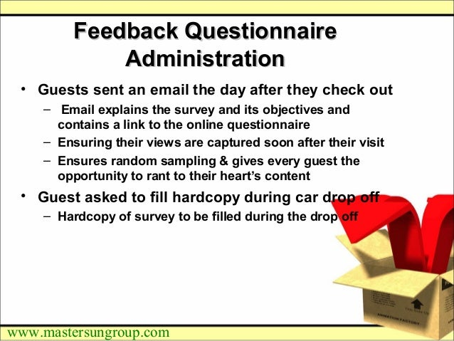 Hotel guest feedback programme an approach note resolution 8 mastersungroupfeedback questionnairefeedback questionnaireadministrationadministration guests ccuart Images