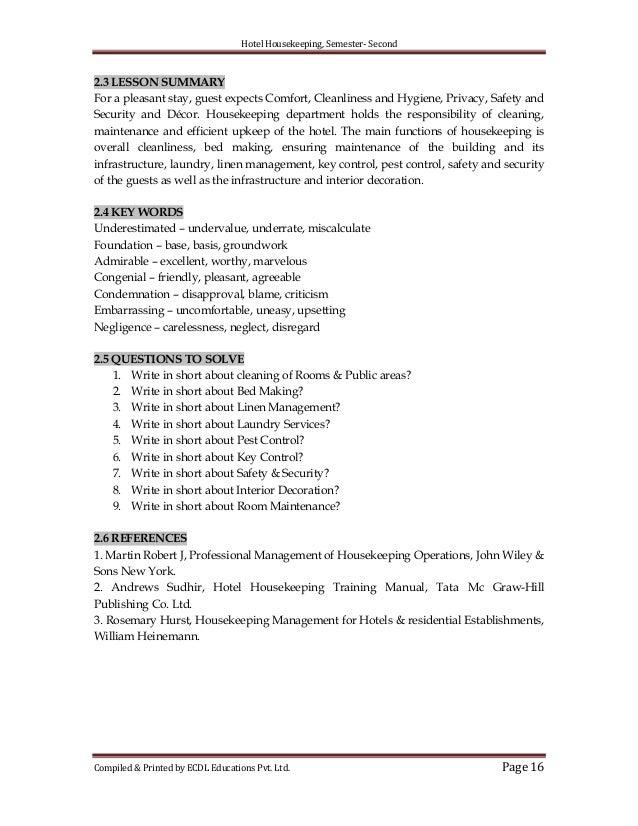 hotel housekeeping rh slideshare net Hotel Housekeeping Worksheets hotel housekeeping training manual sudhir andrews download