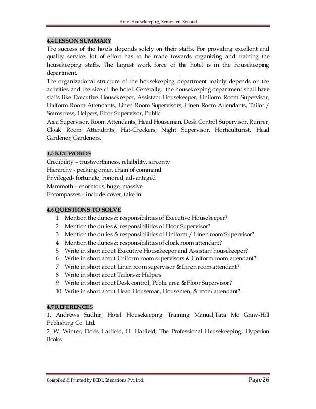Hotel training hotel housekeeping manual.