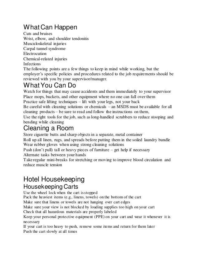 Hotel housekeeping sop etc for Sales sop template