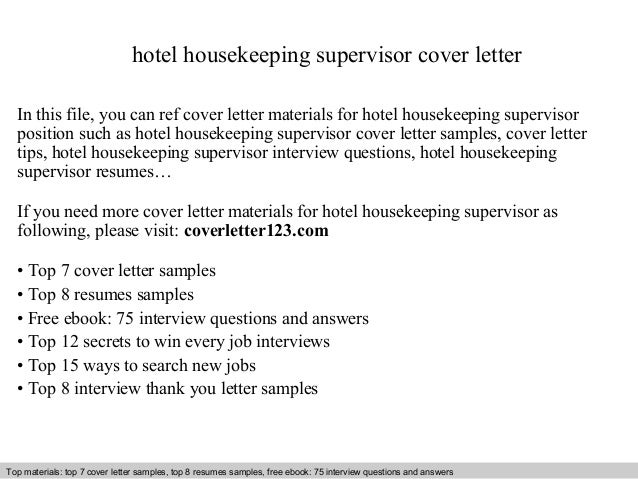 Hotel Housekeeping Supervisor Cover Letter In This File You Can Ref Materials For