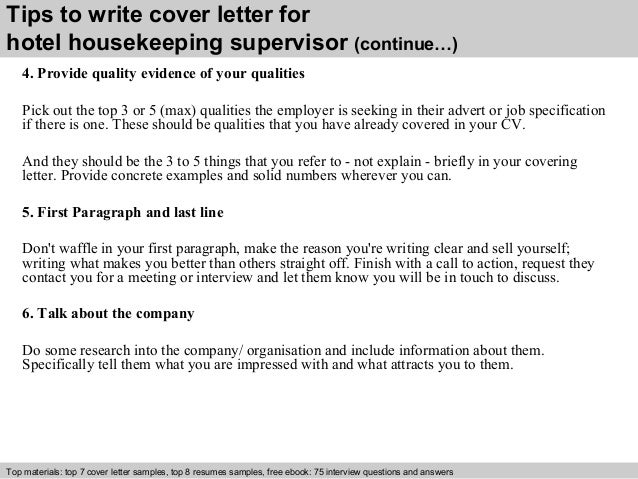 4 tips to write cover letter for hotel housekeeping - Sample Housekeeper Cover Letter