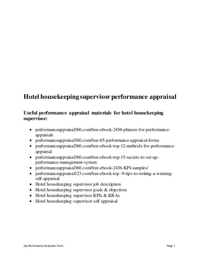 hotel housekeeping supervisor performance appraisal