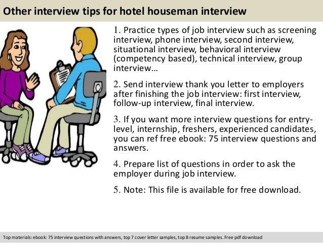 hotel job interview questions