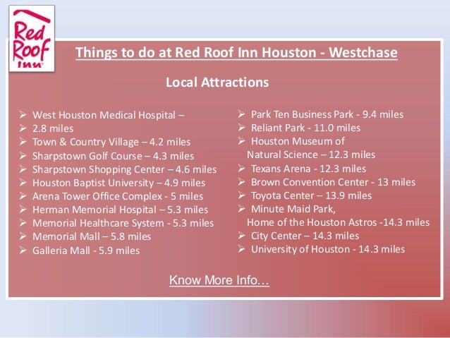 Click Here To View Large Map; 7. Red Roof Inn Houston U2013 Westchase 2960 West  Sam Houston Parkway South ...