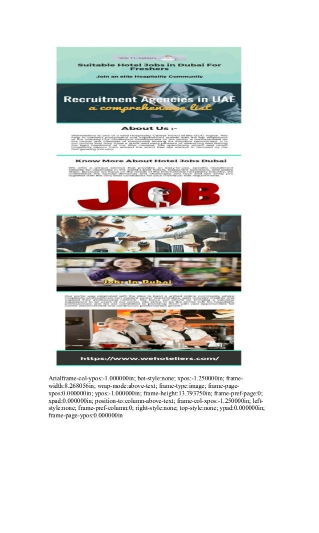 Find And Apply Online For Hotel Jobs in Dubai For Freshers