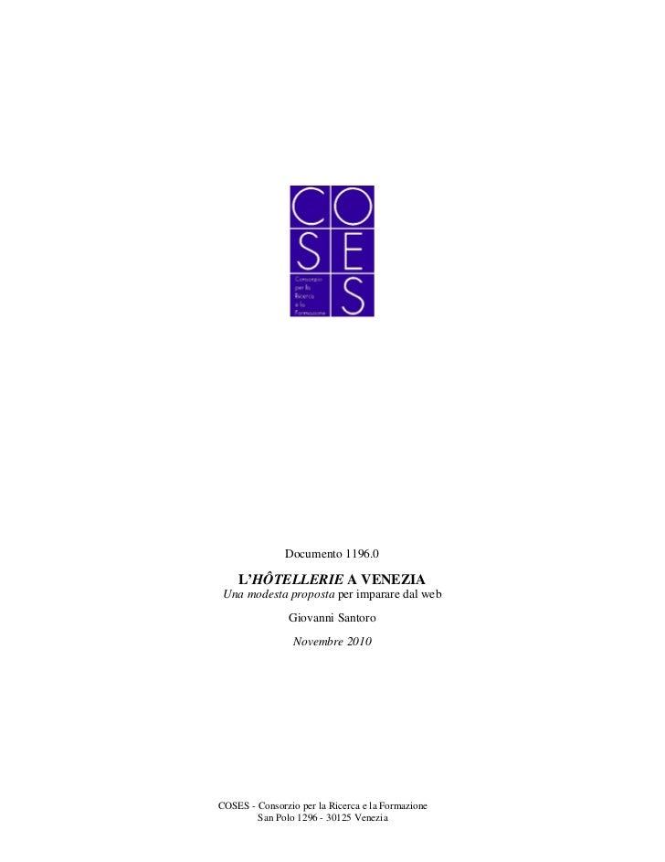 Documento 1196.0    L'HÔTELLERIE A VENEZIA Una modesta proposta per imparare dal web                Giovanni Santoro      ...