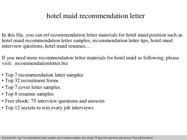 hotel maid recommendation letter