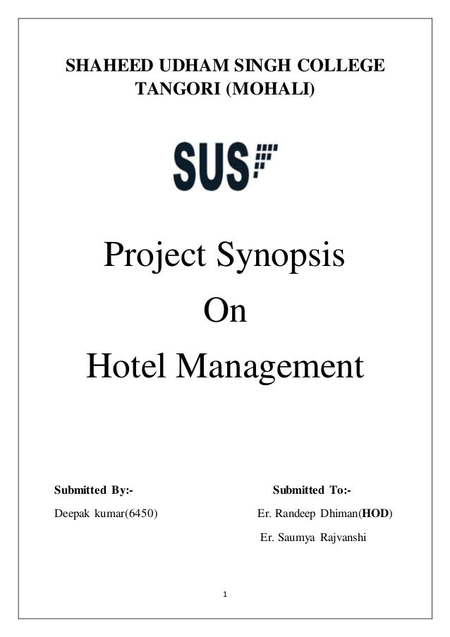 Hotel management synopsis