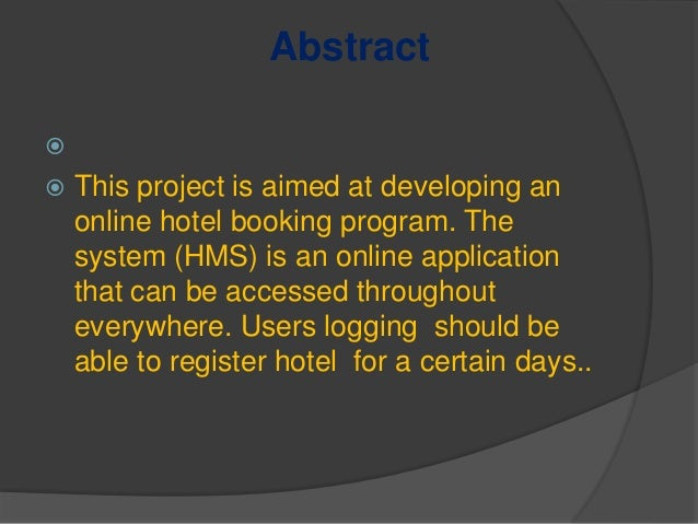 Introduction to online hotel reservation system - Essay