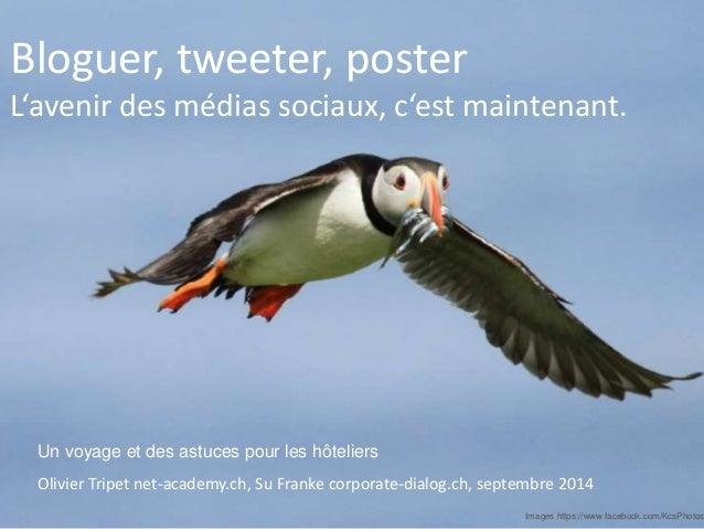 Bloguer, tweeter, poster  L'avenir des médias sociaux, c'est maintenant.  Vorname Name, Ort etc.  Olivier Tripet net-acade...