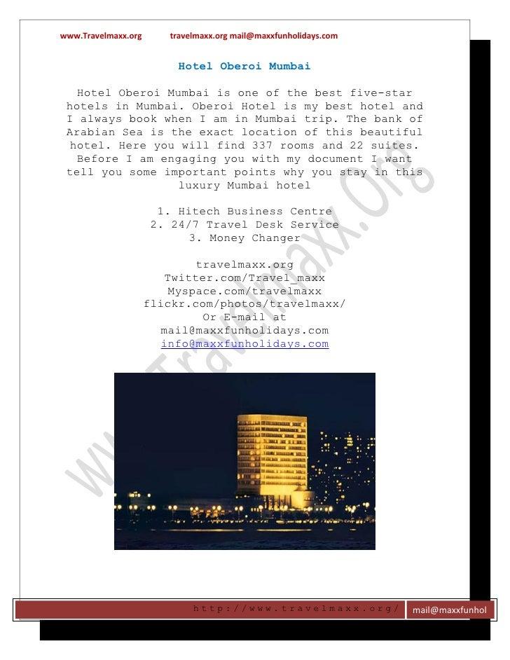 www.Travelmaxx.org      travelmaxx.org mail@maxxfunholidays.com                          Hotel Oberoi Mumbai   Hotel Obero...