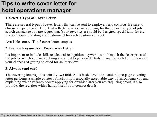 Hotel operations manager cover letter – Operations Manager Cover Letter