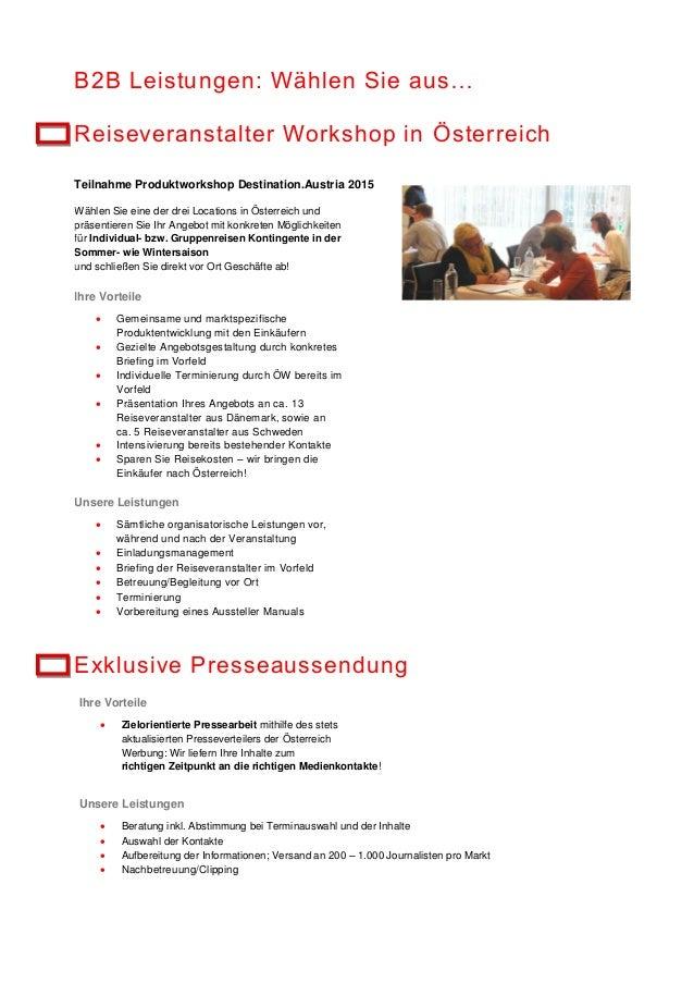 B2B Leistungen: Wählen Sie aus… Reiseveranstalter Workshop in Österreich Teilnahme Produktworkshop Destination.Austria 201...