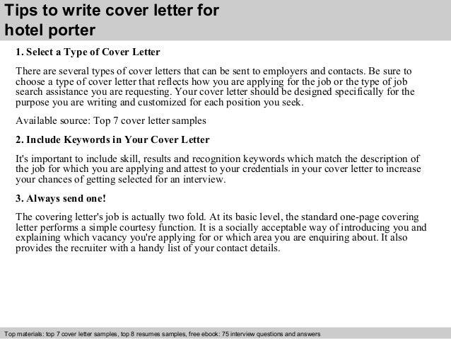 Hotel porter cover letter
