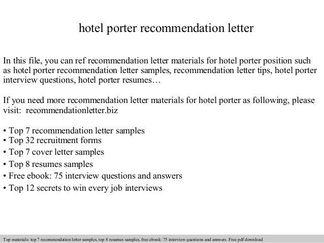 cover letter for hotel porter job