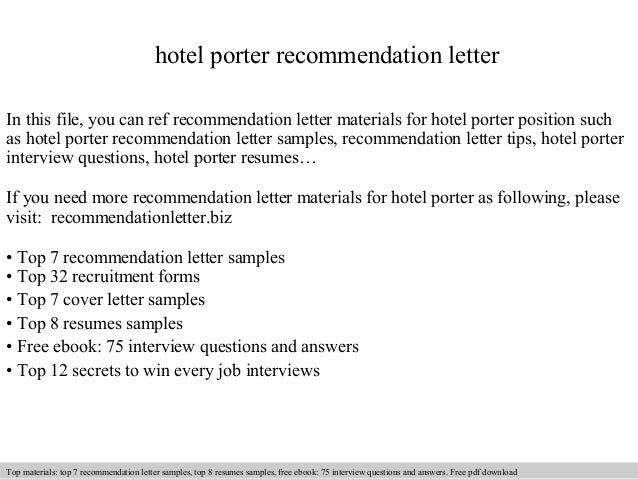 Hotel Porter Recommendation Letter In This File, You Can Ref Recommendation  Letter Materials For Hotel Recommendation Letter Sample ...  Employment Reference Letter Samples Free