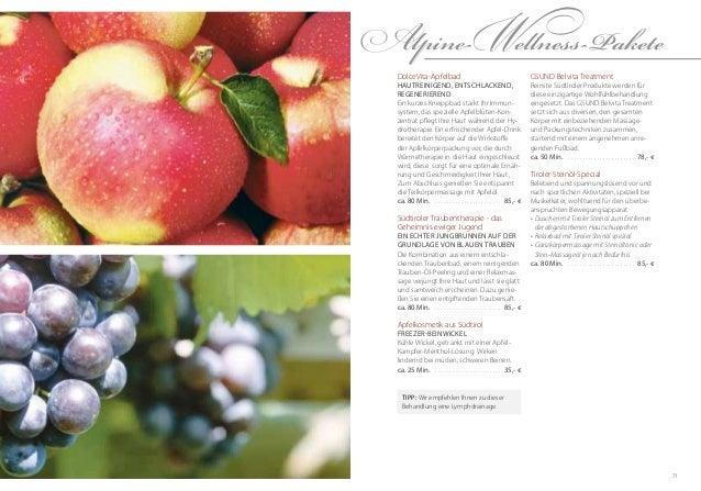 71GSUND Belvita TreatmentReinste Südtiroler Produkte werden fürdiese einzigartige Wohlfühlbehandlungeingesetzt. Das GSUND ...