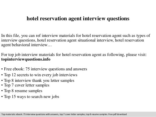 Hotel Reservation Agent Interview Questions In This File You Can Ref Materials For