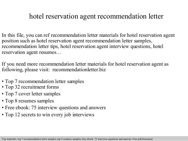 hotel reservation agent recommendation letter