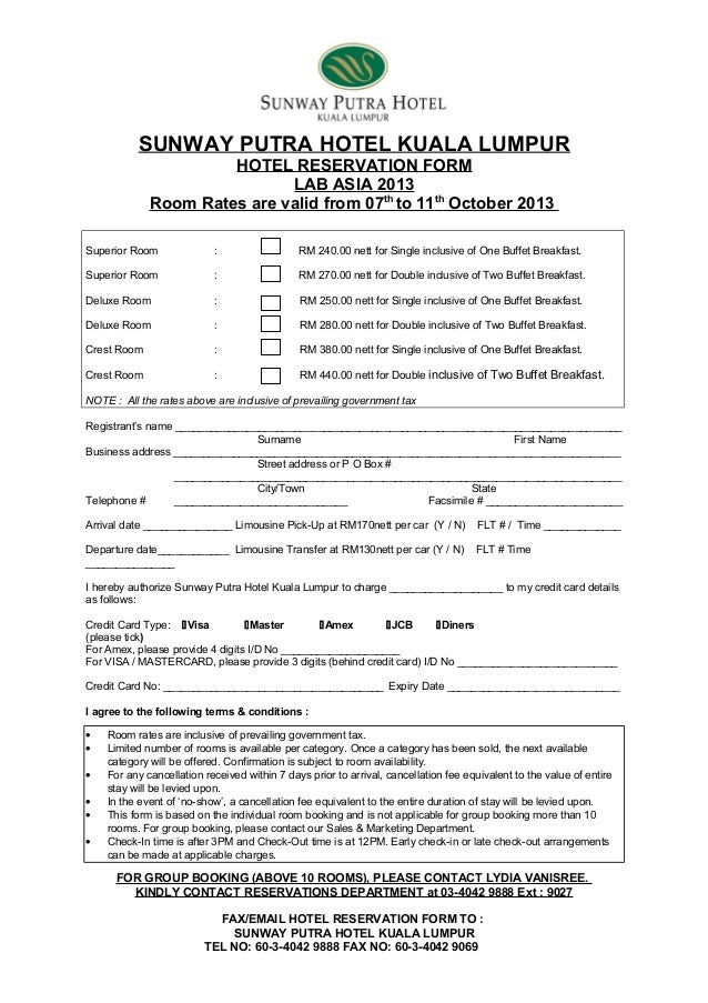 Hotel Reservation Form : Lab Asia 7-11 Oct 2013 (Sunway Putra Hotel)