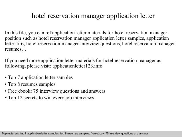 Hotel Reservation Manager Application Letter In This File You Can Ref Materials For