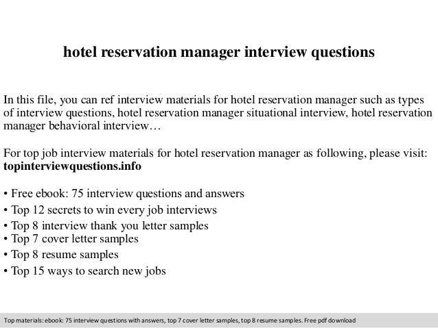 hotel reservation manager interview questions In this file, you can ref  interview materials for hotel ...