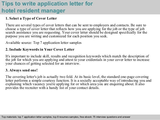 Hotel Resident Manager Application Letter