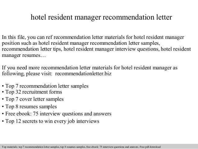 hotel resident manager recommendation letter