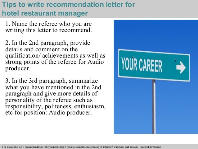 Hotel Restaurant Manager Recommendation Letter