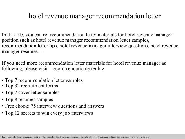 Hotel revenue manager recommendation letter for Hotel recommendation