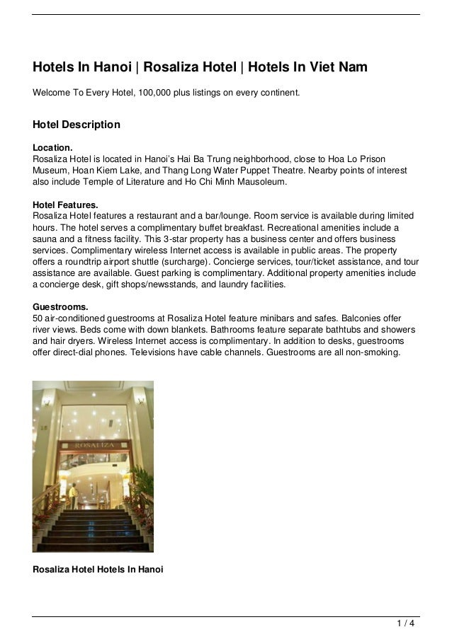 Hotels In Hanoi | Rosaliza Hotel | Hotels In Viet NamWelcome To Every Hotel, 100,000 plus listings on every continent.Hote...