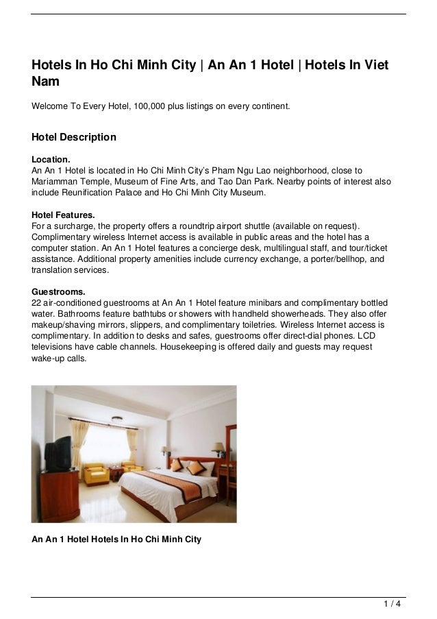 Hotels In Ho Chi Minh City | An An 1 Hotel | Hotels In VietNamWelcome To Every Hotel, 100,000 plus listings on every conti...