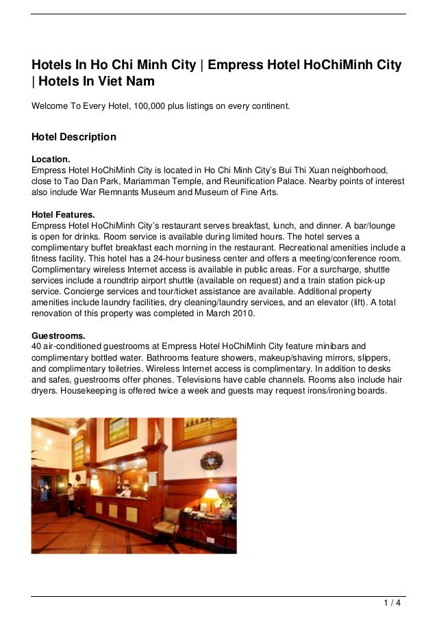 Hotels In Ho Chi Minh City   Empress Hotel HoChiMinh City  Hotels In Viet NamWelcome To Every Hotel, 100,000 plus listings...