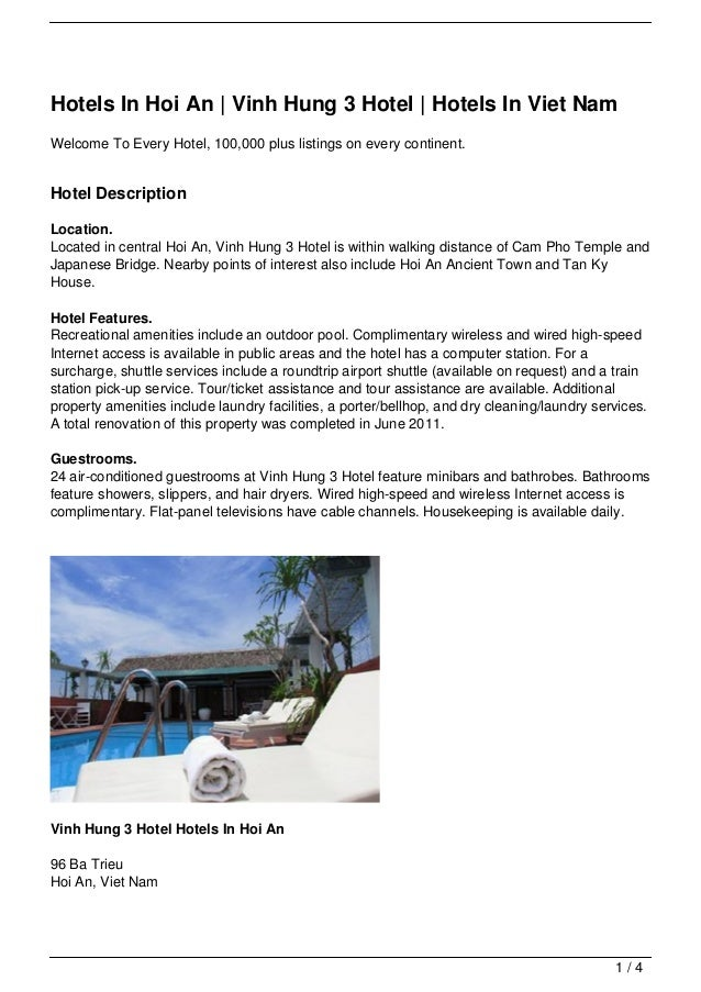 Hotels In Hoi An | Vinh Hung 3 Hotel | Hotels In Viet NamWelcome To Every Hotel, 100,000 plus listings on every continent....