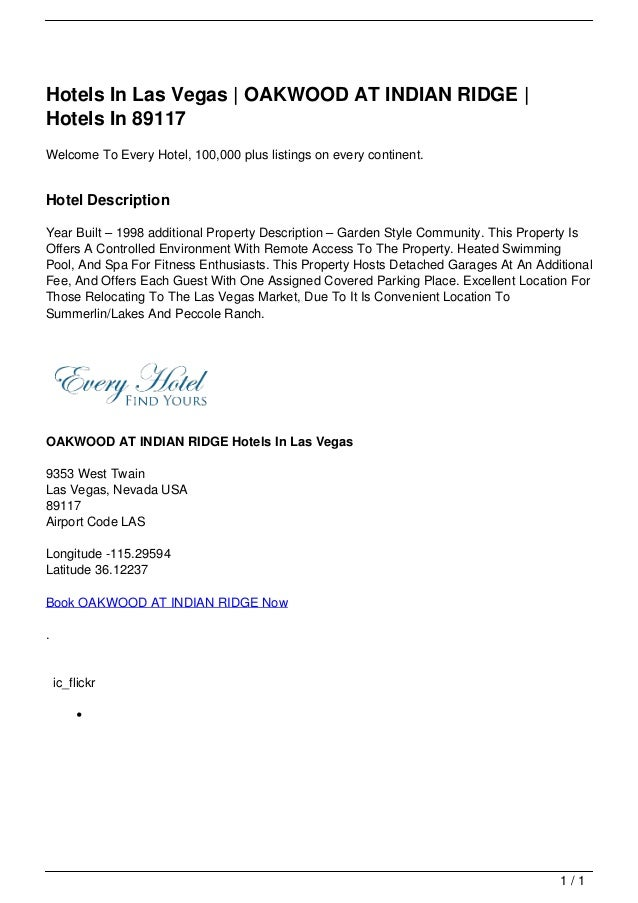 Hotels In Las Vegas | OAKWOOD AT INDIAN RIDGE |                                   Hotels In 89117                         ...