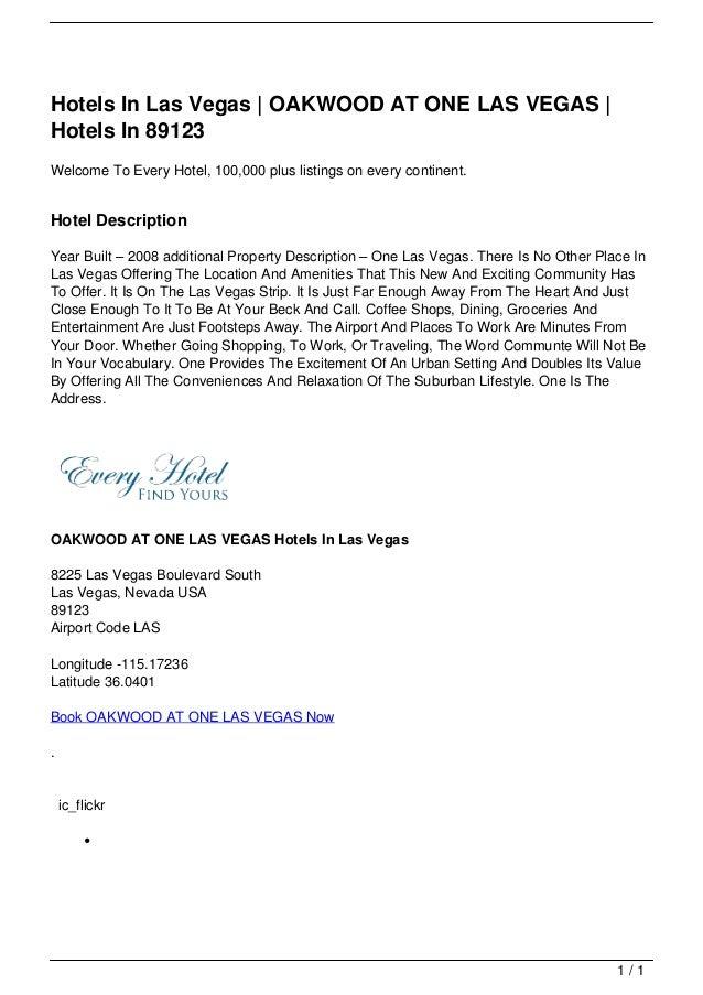 Hotels In Las Vegas | OAKWOOD AT ONE LAS VEGAS |                                   Hotels In 89123                        ...