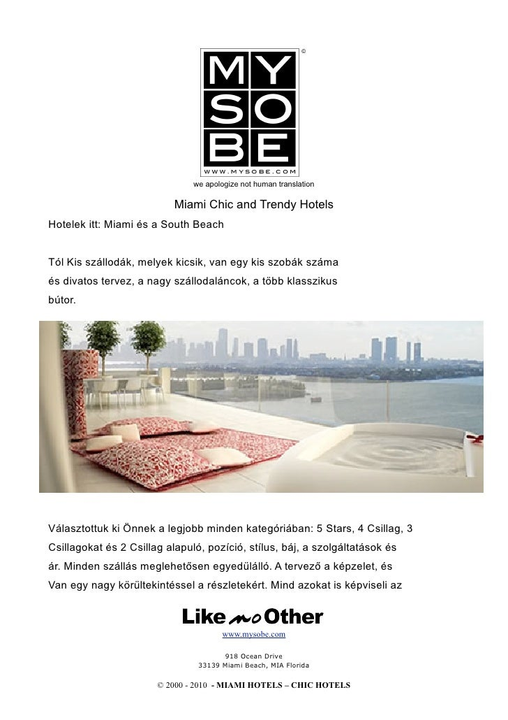 we apologize not human translation                             Miami Chic and Trendy Hotels Hotelek itt: Miami és a South ...