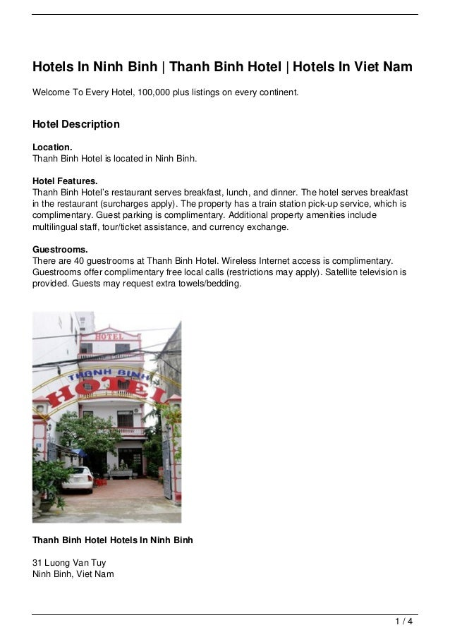 Hotels In Ninh Binh | Thanh Binh Hotel | Hotels In Viet NamWelcome To Every Hotel, 100,000 plus listings on every continen...