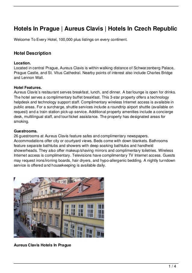 Hotels In Prague | Aureus Clavis | Hotels In Czech RepublicWelcome To Every Hotel, 100,000 plus listings on every continen...