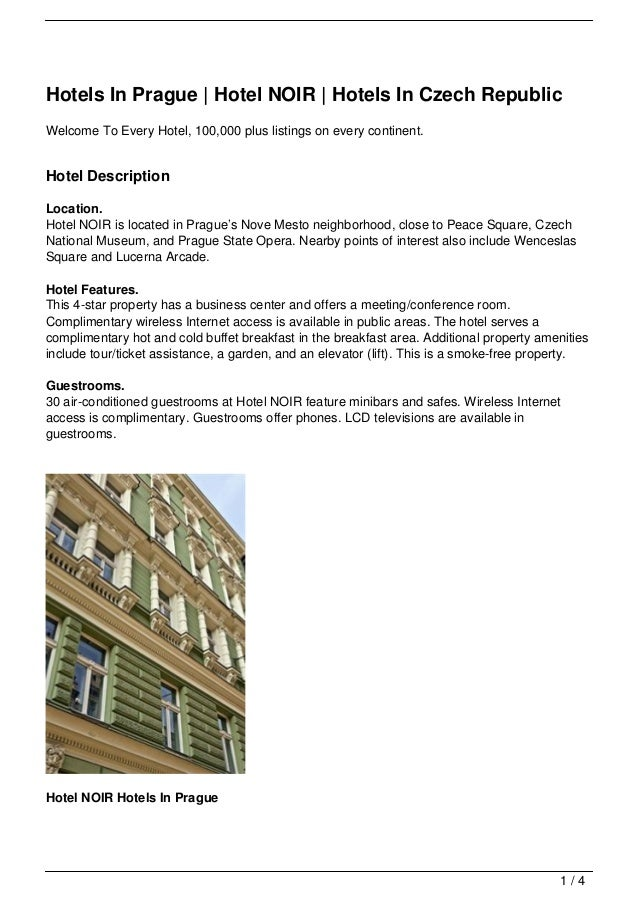 Hotels In Prague | Hotel NOIR | Hotels In Czech RepublicWelcome To Every Hotel, 100,000 plus listings on every continent.H...