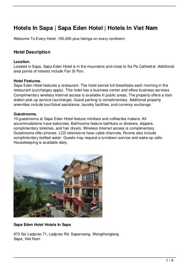 Hotels In Sapa | Sapa Eden Hotel | Hotels In Viet NamWelcome To Every Hotel, 100,000 plus listings on every continent.Hote...