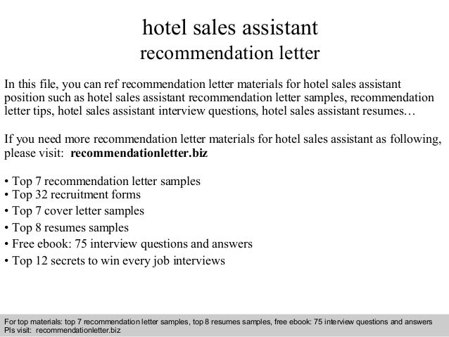 Hotel sales assistant recommendation letter for Hotel recommendation