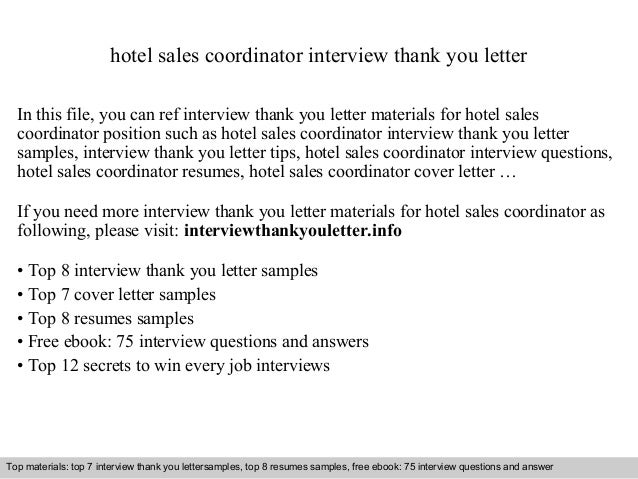 Hotel sales coordinator hotel sales coordinator interview thank you letter in this file you can ref interview thank spiritdancerdesigns Gallery