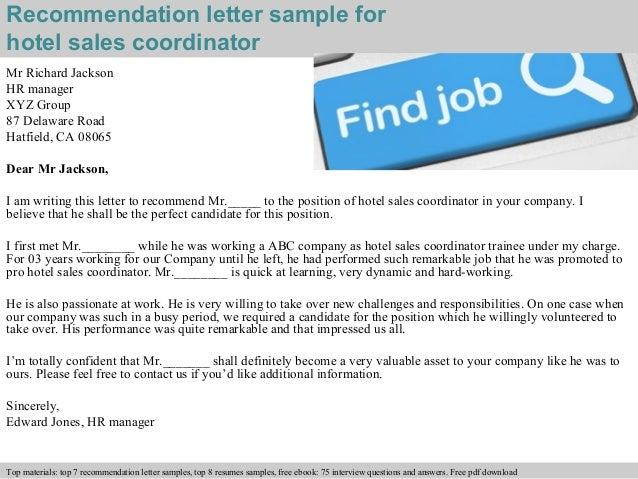 Hotel Sales Coordinator Recommendation Letter